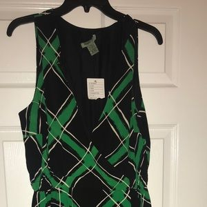 Anthro wrap dress in a vibrant green plaid motif